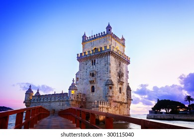 Torre of Belem at  sunset, famouse landmark of Lisbon, Portugal, retro toned