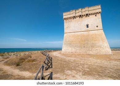 Torre Chianca, fortress in porto cesareo coast line , Salento Italy