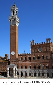The Torre del Mangia and the Palazzo Publico in The Campo, Siena, Tuscany, Italy