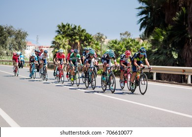 TORRE DEL MAR - AUGUST, 31: Pack of the cyclists ride during the Tour of Spain cycling race through the roads of Costa del Sol in Malaga. August 31, 2017