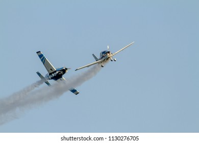 TORRE DEL MAR, MALAGA, SPAIN-JUL 30: Aircraft of the formation Plus Ultra  taking part in a exhibition on the 1st airshow of Torre del Mar on July 30, 2016, in Torre del Mar, Malaga, Spain