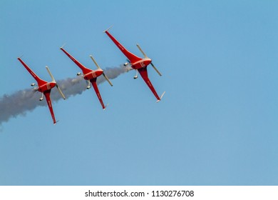 TORRE DEL MAR, MALAGA, SPAIN-JUL 30: Aircraft of the Patrouille REVA taking part in a exhibition on the 1st airshow of Torre del Mar on July 30, 2016, in Torre del Mar, Malaga, Spain