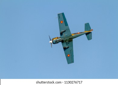 TORRE DEL MAR, MALAGA, SPAIN-JUL 30: Aircraft Yakolev Yak-52 of Salva Ballesta taking part in a exhibition on the 1st airshow of Torre del Mar on July 30, 2016, in Torre del Mar, Malaga, Spain