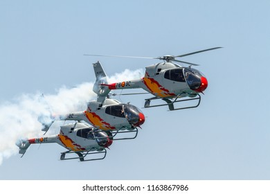TORRE DEL MAR, MALAGA, SPAIN-JUL 30: Patrulla Aspa, Helicopter Eurocopter EC-120 Colibri taking part in a exhibition on the 2nd airshow of Torre del Mar on July 30, 2017,in Torre del Mar,Malaga, Spain