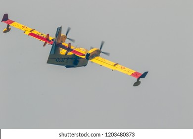 TORRE DEL MAR, MALAGA, SPAIN-JUL 28: Seaplane Canadair CL-215  taking part in a exhibition on the 2nd airshow of Torre del Mar on July 28, 2017, in Torre del Mar, Malaga, Spain