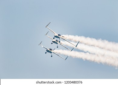 TORRE DEL MAR, MALAGA, SPAIN-JUL 30: Aircraft of the Patrouille REVA taking part in a exhibition on the 2nd airshow of Torre del Mar on July 30, 2017, in Torre del Mar, Malaga, Spain
