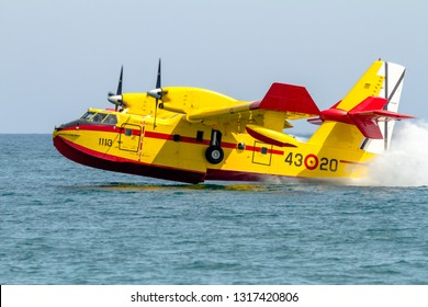 TORRE DEL MAR, MALAGA, SPAIN-JUL 30: Seaplane Canadair CL-215  taking part in a exhibition on the 1st airshow of Torre del Mar on July 30, 2016, in Torre del Mar, Malaga, Spain