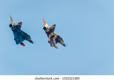 TORRE DEL MAR, MALAGA, SPAIN-JUL 28: Aircraft Mirage 2000 of the Couteau Delta Tactical Display  taking part in a exhibition on the 2nd airshow of Torre del Mar on July 28, 2017, in  Malaga, Spain