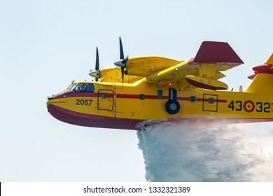 TORRE DEL MAR, MALAGA, SPAIN-JUL 30: Seaplane Canadair CL-215  taking part in a exhibition on the 2nd airshow of Torre del Mar on July 30, 2017, in Torre del Mar, Malaga, Spain