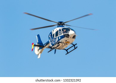 TORRE DEL MAR, MALAGA, SPAIN-JUL 30: Helicopter Eurocopter EC-135 of the police taking part in a exhibition on the 2nd airshow of Torre del Mar on July 30, 2017, in Torre del Mar, Malaga, Spain