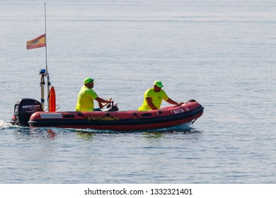 TORRE DEL MAR, MALAGA, SPAIN-JUL 30: Spanish coast guard taking part in a exhibition on the 2nd airshow of Torre del Mar on July 30, 2017, in Torre del Mar, Malaga, Spain