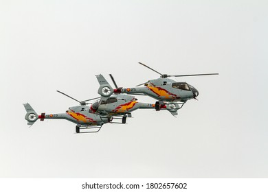 TORRE DEL MAR, MALAGA, SPAIN-JUL 12: Patrulla Aspa, Helicopter Eurocopter EC-120 Colibri taking part in a exhibition on the 4th airshow of Torre del Mar on July 12, 2019, in Torre del Mar,Malaga,Spain