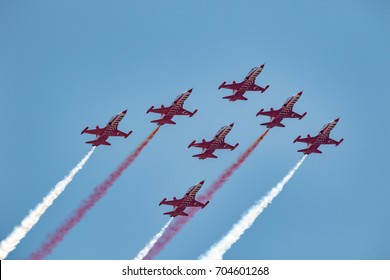 TORRE DEL MAR, MALAGA, SPAIN-JUL 30: Aircraft Northrop F-5 of the Turkish Stars  taking part in a exhibition on the 2nd airshow of Torre del Mar on July 30, 2017, in Torre del Mar, Malaga, Spain