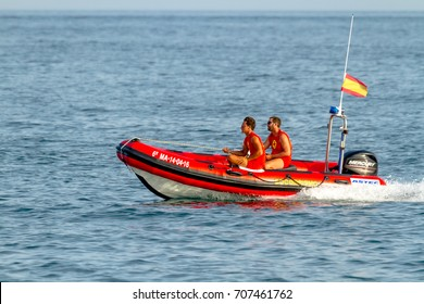 TORRE DEL MAR, MALAGA, SPAIN-JUL 30: Spanish coast guard taking part in a exhibition on the 1st airshow of Torre del Mar on July 30, 2016, in Torre del Mar, Malaga, Spain