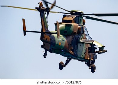 TORRE DEL MAR, MALAGA, SPAIN-JUL 30: Helicopter Eurocopter EC665 Tiger taking part in a exhibition on the 2nd airshow of Torre del Mar on July 30, 2017, in Torre del Mar, Malaga, Spain