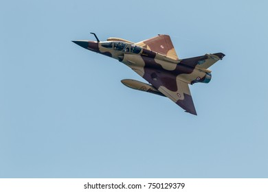 TORRE DEL MAR, MALAGA, SPAIN-JUL 28: Aircraft Mirage 2000 of the Couteau Delta taking part in a exhibition on the 2nd airshow of Torre del Mar on July 28, 2017, in Torre del Mar, Malaga, Spain