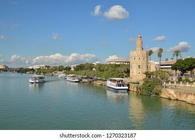 Torre del Oro in Seville, Spain. The Golden Tower is a landmark of Seville on the banks of the Guadalquivir.