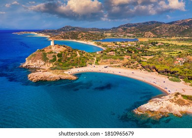 Torre di Chia view from flying drone. Acropoli di Bithia with Torre di Chia tower on background. Aerial view of Sardinia island, Italy, Europe. Panorama Of Chia Coast, Sardinia, Italy.