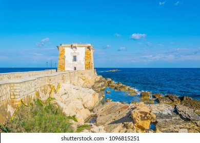 Torre di Ligny dominating seaside of Trapani, Sicily, Italy