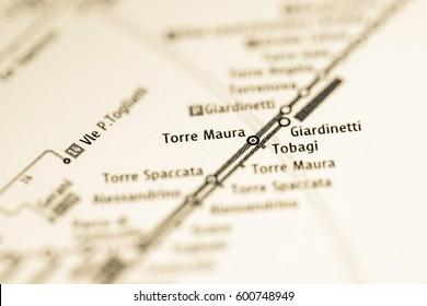 Torre Maura Station. Rome Metro map.