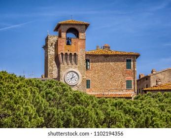 Torre Orologico clock tower in Passignano at lake Trasimeno, Umbria Italy