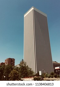 Torre Picasso, Madrid, July 2018: One of the most representative and emblematic bulding of modern arquitecture in Madrid.