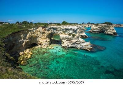 Torre Sant Andrea, Rocky beach in Puglia, Italy