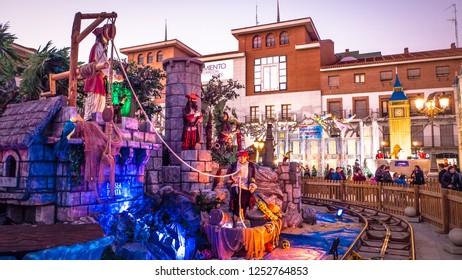 Torrejon de Ardoz, Madrid / Spain - 12 05 2018: Christmas decorations by night at Magicas Navidades Christmas fair at Plaza Mayor in Torrejon de Ardoz, the European capital of Christmas