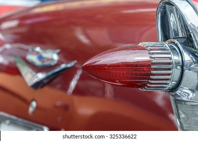 TORREJON DE ARDOZ, SPAIN - OCTOBER 3th 2015: Meeting of classic american cars, during the patronal festivals, in Torrejon de Ardoz, on October 3th 2015. Rear headlight of Chevrolet Bel Air, of 1957.