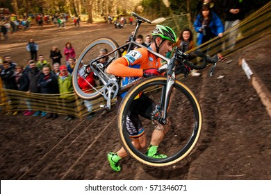 Torrelavega, Spain - January 9, 2016: Felipe Orts Lloret during the Spanish Championship of Cyclocross 2016.