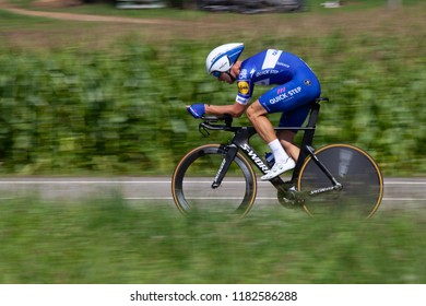 TORRELAVEGA, SPAIN - SEPTEMBER 11, 2018: Fabio SABATINI from Italy and QUICK - STEP FLOORS Team during the 73rd Tour of Spain 2018, Stage 16 a 32km Individual Time Trial stage from