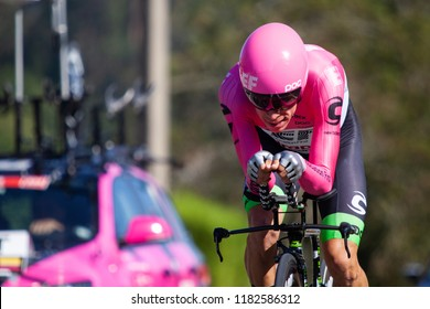 TORRELAVEGA, SPAIN - SEPTEMBER 11,2018: Rigoberto URAN from Colombia and TEAM EF EDUCATION FIRST - DRAPAC P/B CANNONDALE Team during the 73rd Tour of Spain 2018, Stage 16 a 32km Individual Time Trial