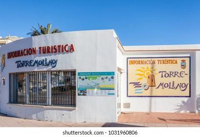 TORREMOLINOS, SPAIN- JANUARY 22,2018: Detail sign building tourist information in Torremolinos,Spain.