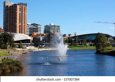 Torrens River, Adelaide city, Australia. As South Australia's seat of government and commercial centre, Adelaide is the site of many governmental and financial institutions.