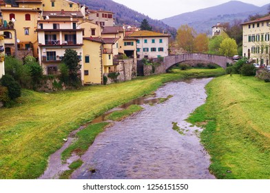 The torrent Comano in the village of Dicomano, Tuscany, Italy