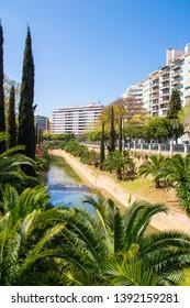 Torrent de Sa Riera, river through the city Palma de Mallorca, Spain