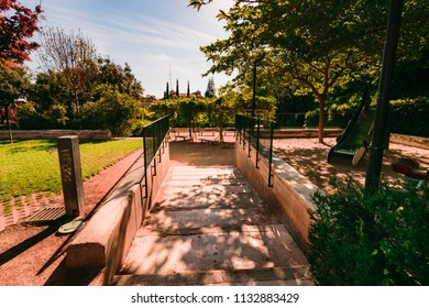 Torrent, Valencia, Spain; 06 05 2018: A beautiful park in the city with many kinds of trees with your name to learn and take relaxing walks between its various rooms in which there is a pond and a sma