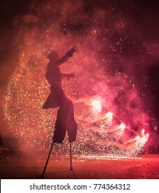 Torres de Berrellen, Spain - July 23, 2017. Fire show through the streets of Torres de Berrellen village in Zaragoza.