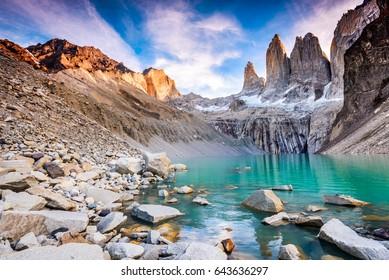 Torres del Paine, Chile - Laguna Torres, famous landmark of Patagonia.