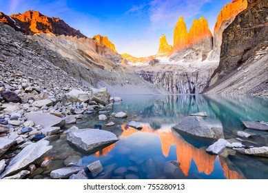 Torres del Paine, Chile - Laguna Torres, famous landmark of Patagonia, South America.