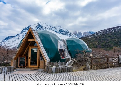 Torres del Paine, Chile - Sep 25, 2018: Ecocamp in Torres del Paine National Park in Chile. It is a camp with domes designed to offer accommodation with minimal impact to the environment.