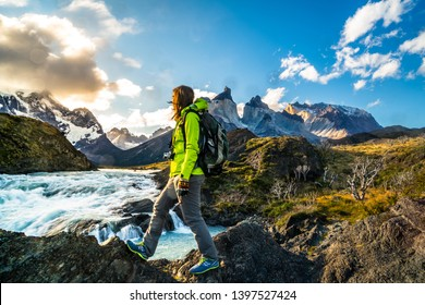Parque nacional Torres del Paine , Patagonia - Chile ( Cascada Peak Los Kuernos y Salto Grande )