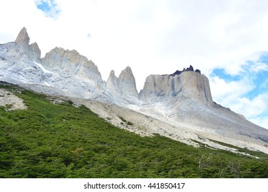 "TORRES DEL PAINE NATIONAL PARK, CHILE - JANUARY 28, 2016 - Picture of the ""Los Cuernos"" mountain taken from the French Valley."