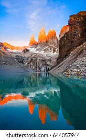 Torres del Paine, National Park - Laguna Torres at sunrise, famous landmark of Patagonia, Chile