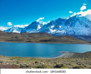 Torres del Paine Natural Park, Chilean Patagonia, Magallanes Region. Snowy Andes mountain range in autumn.