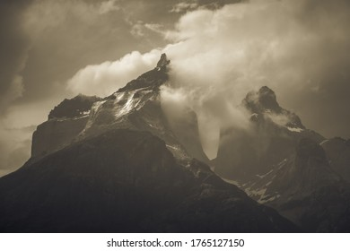 Torres del Paine park in Chili. In cloudy weather conditions.