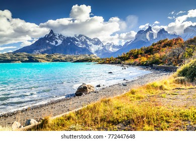 Torres del Paine, Patagonia, Chile. Autumn austral landscape South America, Lake Pehoe and Cuernos del Paine.