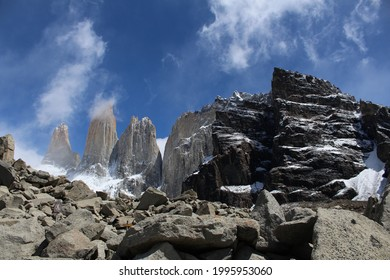 Torres del Paine peaks and Condor nest Hill at Torres del Paine National park in Chilean Patagonia