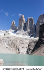 Torres del paine peaks and lake view