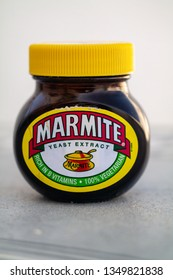 Torrevieja, Alicante, Spain - March 25 2019 : Jar of Marmite on table with copy space
